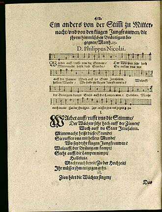 Wachet auf, ruft uns die Stimme - First publication in Nicolai's 1599 Frewdenspiegel deß ewigen Lebens