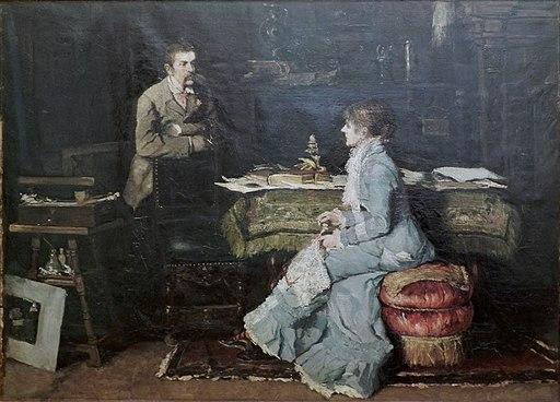 Fritz von Uhde z małżonką w atelier (1881)