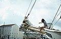Furling sails on bowsprit at Nassau (27093635759).jpg