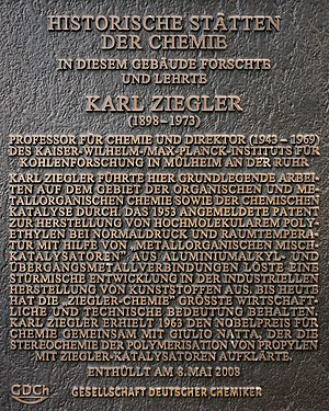 Karl Ziegler - Memorial tablet of the GDCh.