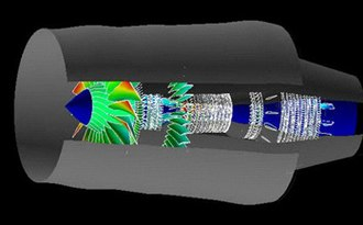 General Electric GE90 - A 1998 CFD simulation of airflow through the engine
