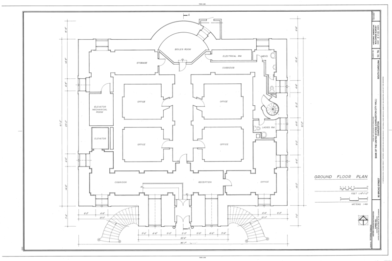 File Ground Floor Plan Bank Of The United States 80 Broad Street Charleston Charleston County Sc Habs Sc 10 Char 108 Sheet 2 Of 10 Png Wikimedia Commons