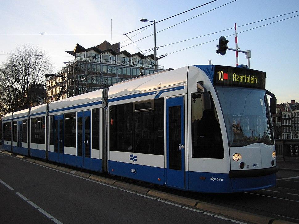 GVB Combino 2075 (Amsterdam tram) on route 10, January 2005