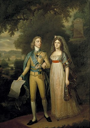Gustav IV Adolf of Sweden - In promenade with his wife Frederica Dorothea of Baden