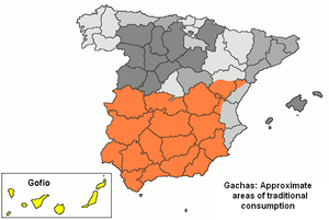 Gachas - Approximate areas of traditional gachas consumption in Spain