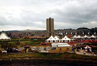 Gateshead Garden Festival - View of the site from Dunston staithes