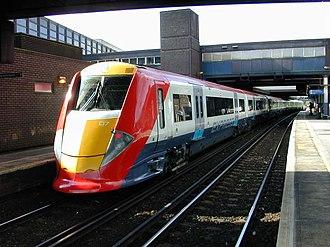 Gatwick Airport railway station - A Gatwick Express British Rail Class 460 idling at Gatwick Airport Station, 2002
