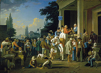 Boonslick - The County Election by George Caleb Bingham portrays early political life in Missouri