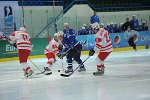 2013 IIHF World Championship Division III - The match between Georgia and Greece. Greece won the match 13-0.