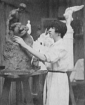 Gertrude Vanderbilt Whitney -  Gertrude Vanderbilt Whitney in her studio, ca. 1920