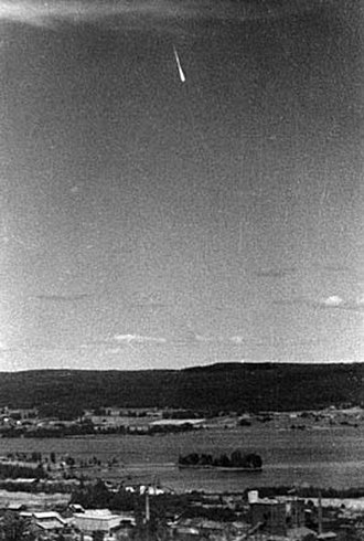 Ghost rockets - A ghost rocket or a meteor. Photographer Erik Reuterswärd suspected a meteor was depicted in his widely circulated photo. The Swedish Army, who released the picture, was less certain.