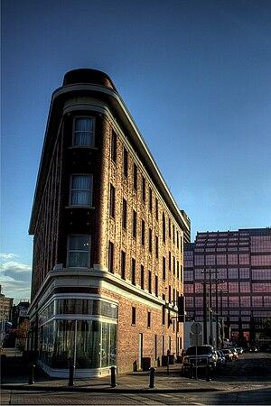 Boyle Street, Edmonton - The Gibson Block, a flatiron building.