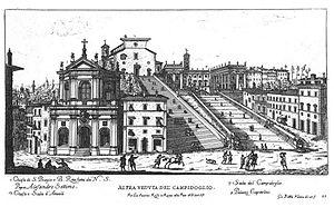 Santa Rita da Cascia in Campitelli - Image: Giovanni Battista Falda – Campidoglio con Chiesa di San Biagio e Beata Rita
