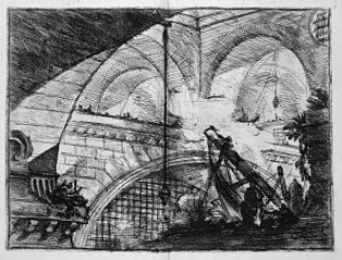 Le Carceri d'Invenzione, plate XI: The Arch with a Shell Ornament