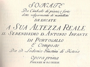Lodovico Giustini - Sonate frontispiece, 1732.