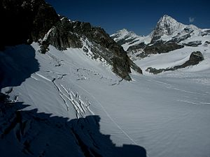 Mont Miné Glacier - View of the glacier and Dent Blanche from near the Bertol Hut