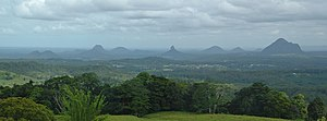 Glass House Mountains - Glass House Mountains viewed from Mary Cairncross Reserve
