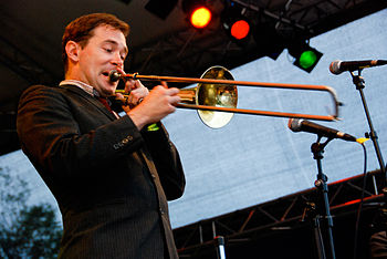 Vocalist and trombonist Glen Pine of The Slack...