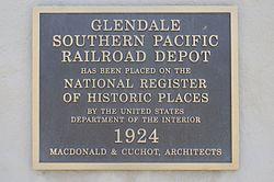 Glendale Transportation Center Historical Plaque