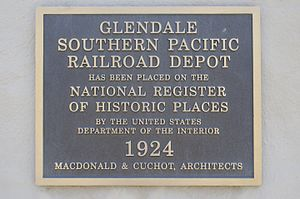 Glendale Transportation Center - Image: Glendale Transportation Center Historical Plaque
