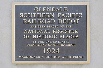 Glendale Transportation Center - Image: Glendale Transportation Center Historical Plaque