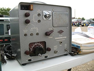 "6-meter band - A Gonset Communicator II 6-meter AM transceiver. This vacuum tube radio with a magic eye tube tuning indicator, was affectionately known as a ""Gooney Box"" and was popular in the 1950s and 60s. A 2-meter version was also sold."