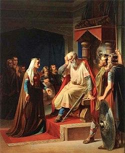 גורם הזקן מתבשר על מות בנו. ציור של אוגוסט קרל וילהלם טומסן (1886-1813)