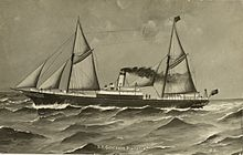 Black and white drawing of the two-masted ship with a central steam engine funnel, traveling from right to left through choppy seas.