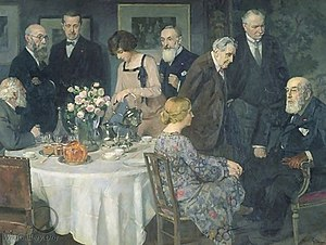 Tea party - A Group of Artists, Paris c. 1929, by Jules-Alexandre Grün