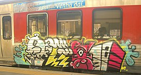 Modern graffiti on train