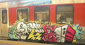Graffiti on a European train.