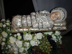 Nativity of Mary - The Infant Mary wrapped in swaddling clothes. Museum of Valenzuela City, Philippines .