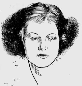 Greta Granstedt - Newspaper sketch of 14 year old Irene Granstedt in 1922.