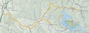Great Victorian Rail Trail - Map of the Goulburn River High Country Rail Trail.