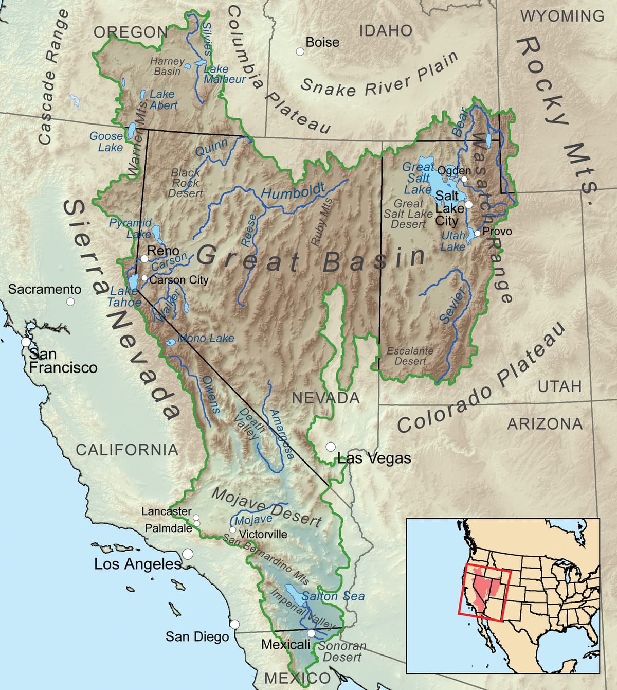 Great Basin Wikipedia - Map of usa with deserts