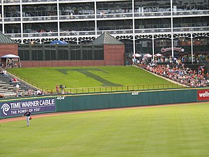 Globe Life Park in Arlington - Globe Life Park in Arlington in 2006, with Greene's Hill in center field