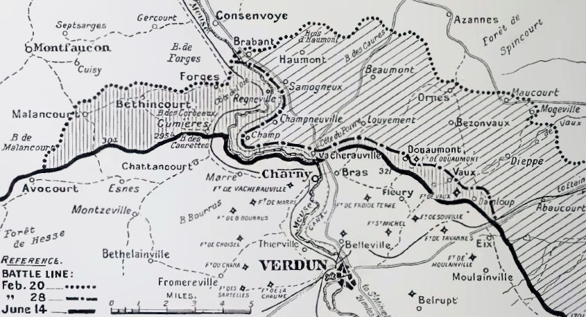 Ground captured by the German 5th Army, Verdun, February to June 1916