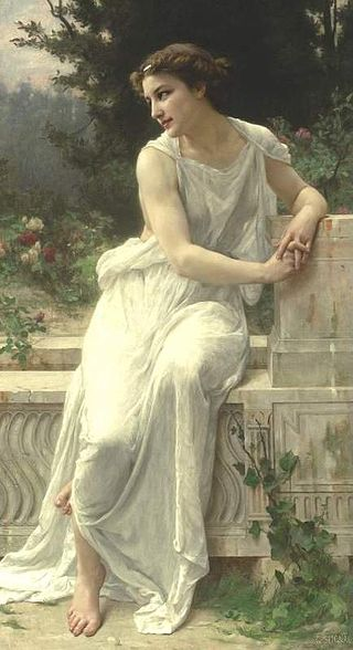 Painting of a woman sitting.