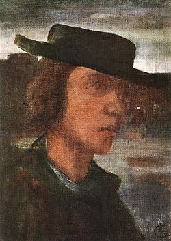 Gulácsy, Lajos - Self-portrait with Hat (1908-12).jpg
