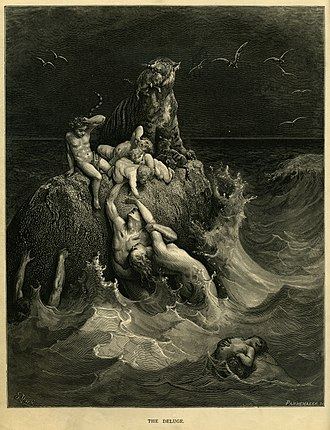 "Flood myth - ""The Deluge"", frontispiece to Gustave Doré's illustrated edition of the Bible. Based on the story of Noah's Ark, this shows humans and a tiger doomed by the flood futilely attempting to save their children and cubs"