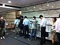 HK Sheung Wan Wing Lok Street Cosco Tower lobby hall interior morning peak hours Nov-2012.JPG