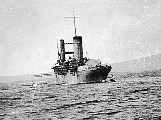 HMS Campania (1914) - Campania after being modified into an aircraft carrier - note airplane at left