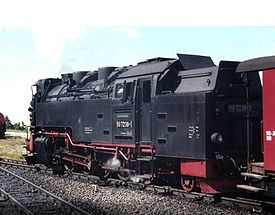 Steam locomotive 99 7238 at the summit of Brocken