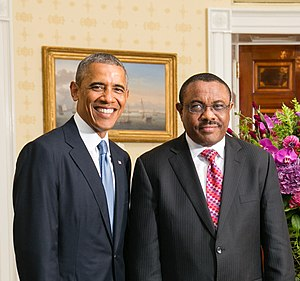 Ethiopia–United States relations - Prime Minister Hailemariam Desalegn and President Obama at the White House in 2014