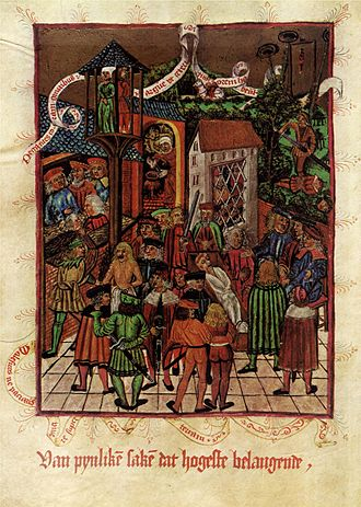 Cruentation - A body in its coffin starts to bleed in the presence of the murderer in an illustration of the laws of Hamburg in 1497