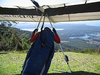 Dooragan National Park - A hang glider prepared for flight from North Brother Mountain