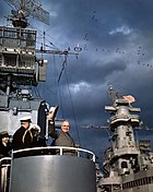 Harry S. Truman aboard USS Renshaw (DD-499) during the Navy Day Fleet Review in New York Harbor, 27 October 1945 (80-G-K-15861)