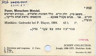 Harvard Library - Catalog card. Heb denotes Hebraica.