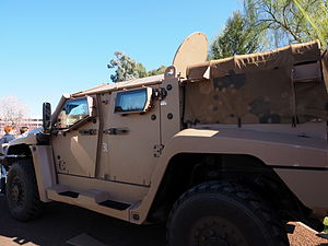 A Hawkei protected mobility vehicle on display at the 2014 ADFA open day