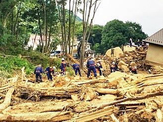 2014 Hiroshima landslides - Rescue operation